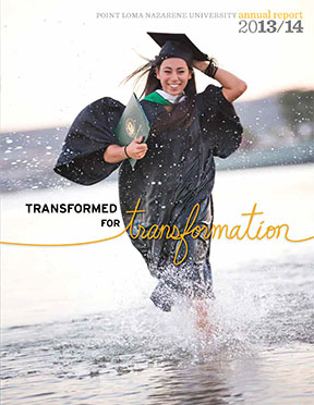 Cover of 2013-14 Annual Report with picture of young woman running in the shallows of the ocean in a cap and gown and holding a diploma