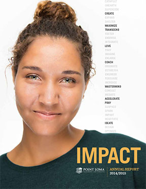 Cover of 2014-15 Annual Report with headshot of young woman looking into the camera
