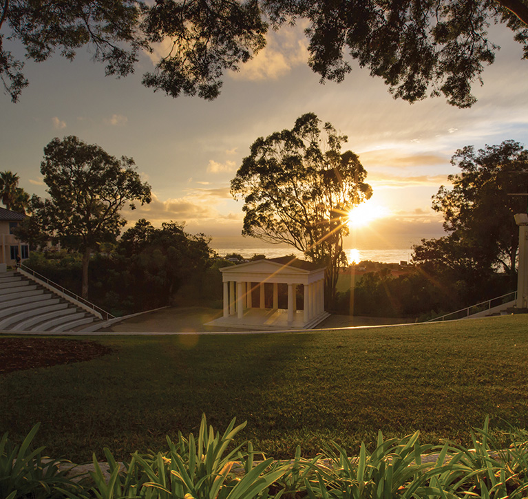 PLNU's Greek Amphitheater during an bright sunset.