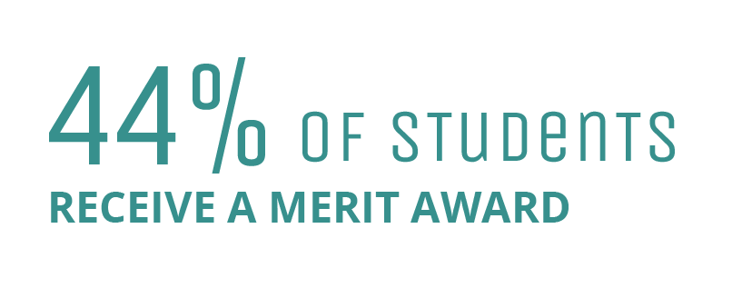 44% of students receive a merit award