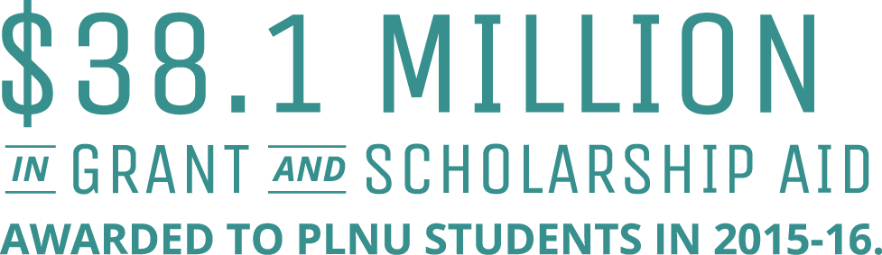 $38.1 million in grant and scholarship aid awarded to PLNU students in 2015-2016