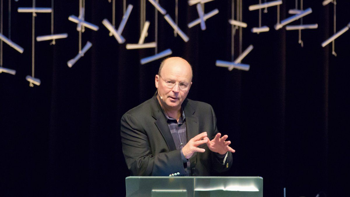 Scot McKnight speaks to the PLNU community during a chapel service.