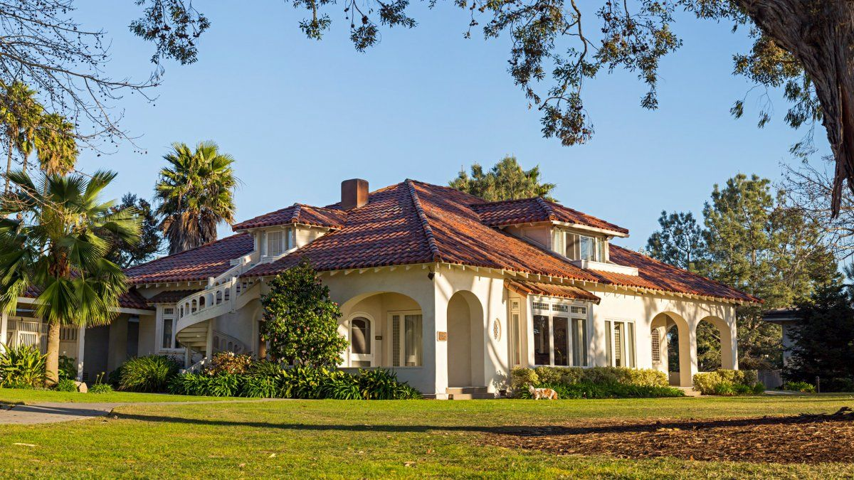 The PLNU alumni house in San Diego, CA with clear blue skies overhead