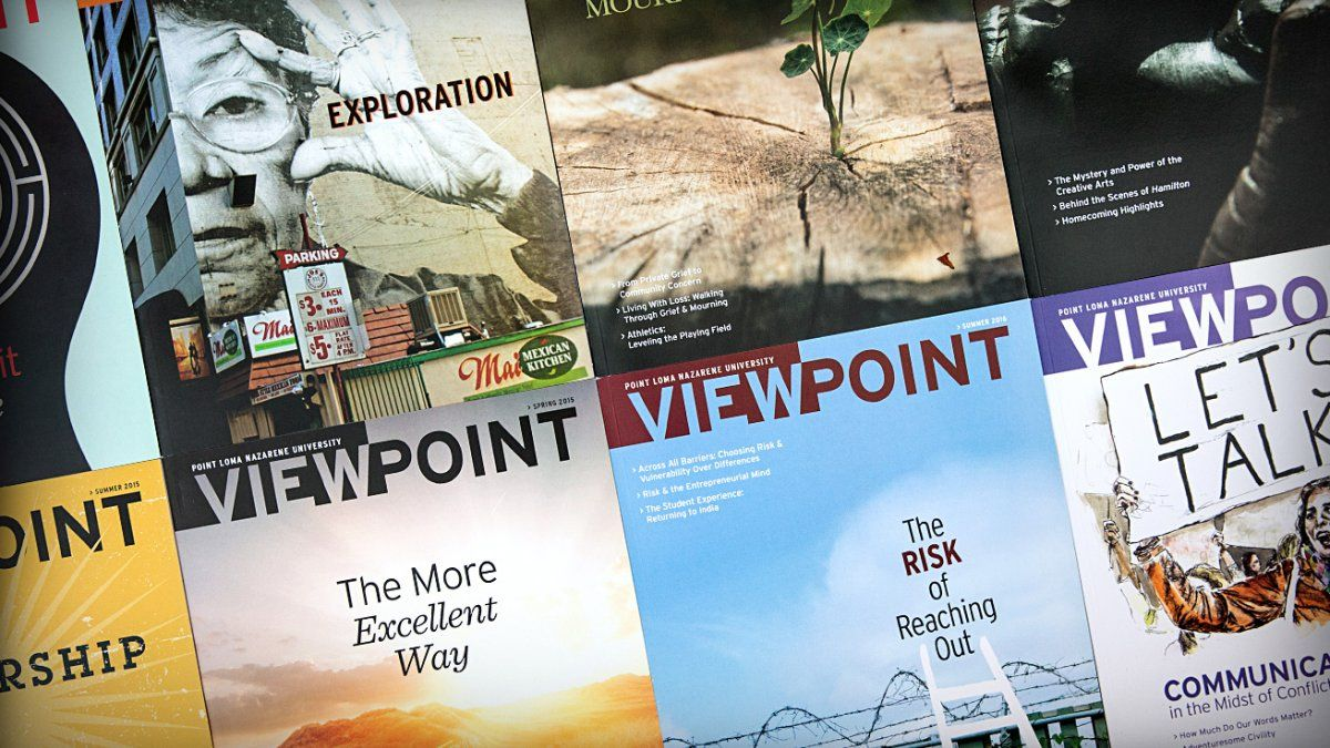 Covers from different Viewpoint editions lined up next to each other form a collage.
