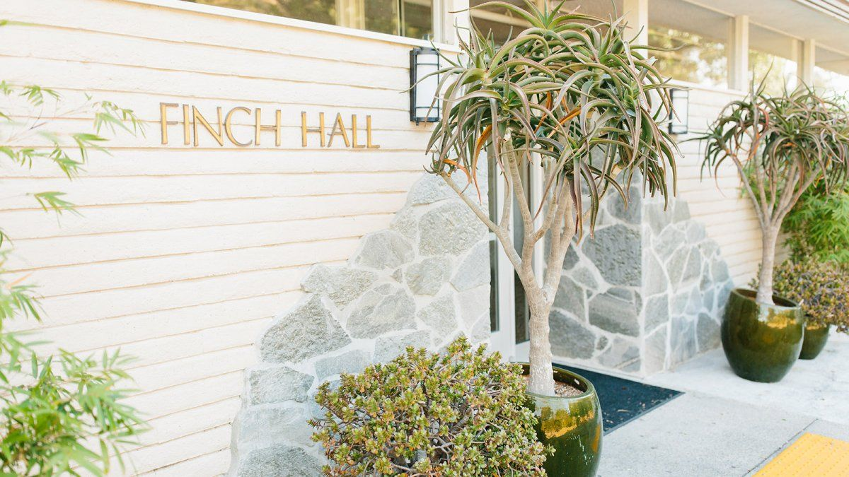 Exterior entrance of Finch Hall with green succulents.