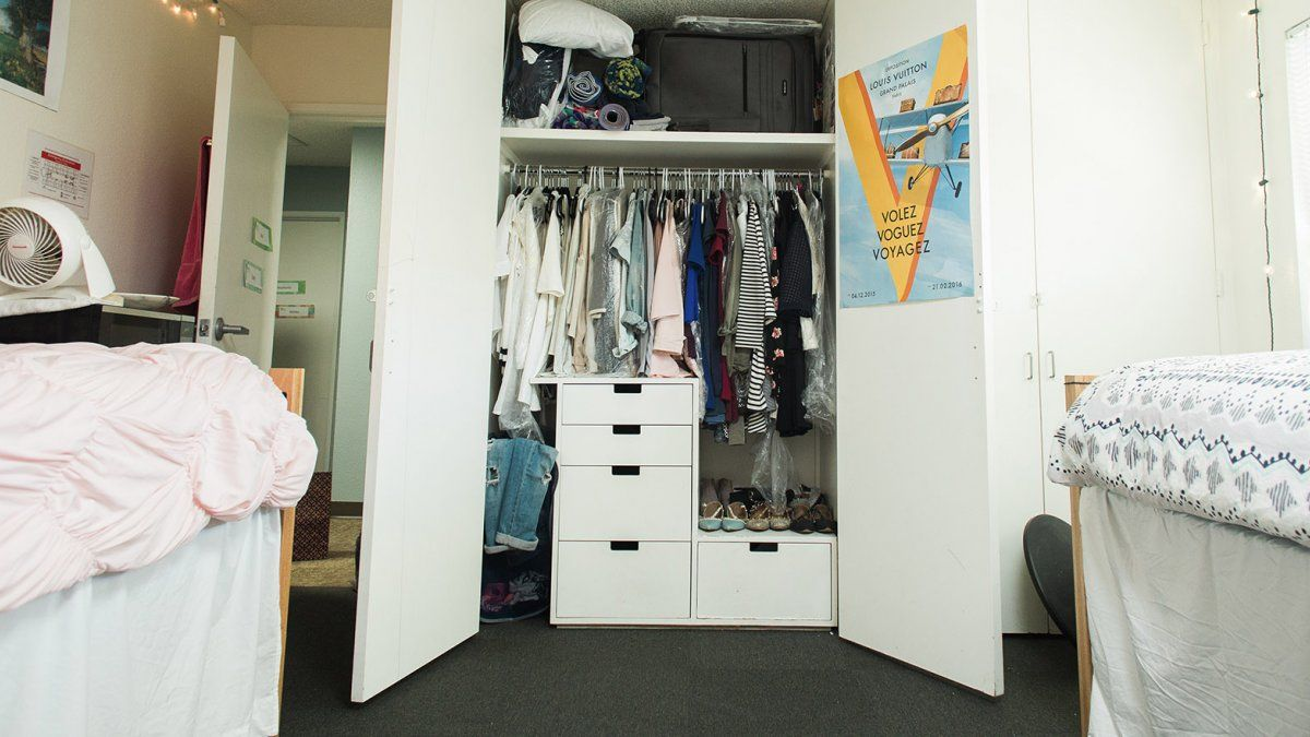 A room in Finch Hall with plentiful closet space.