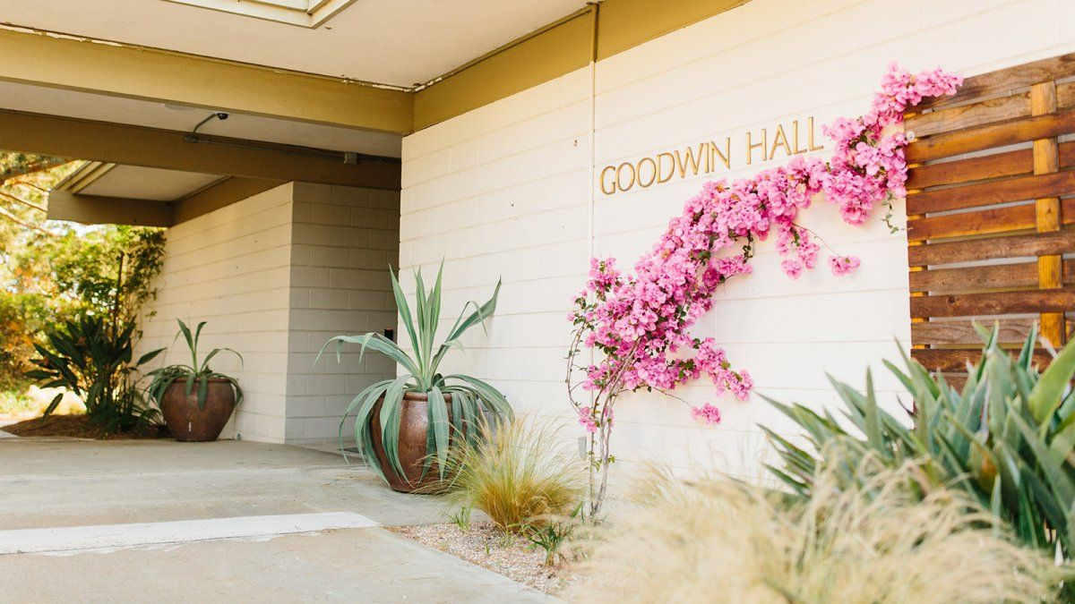 The entrance to Goodwin Hall is adorned with bright pink flowers and large cacti.