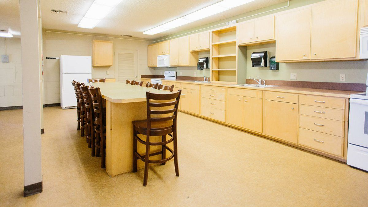 The Goodwin kitchen is a large space that offers appliances and furniture for big groups of students.