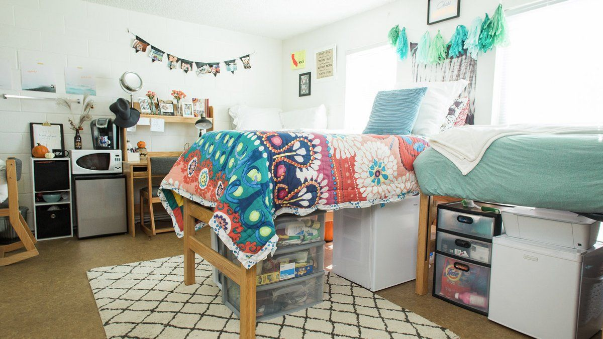A colorfully decorated room in Goodwin Hall.