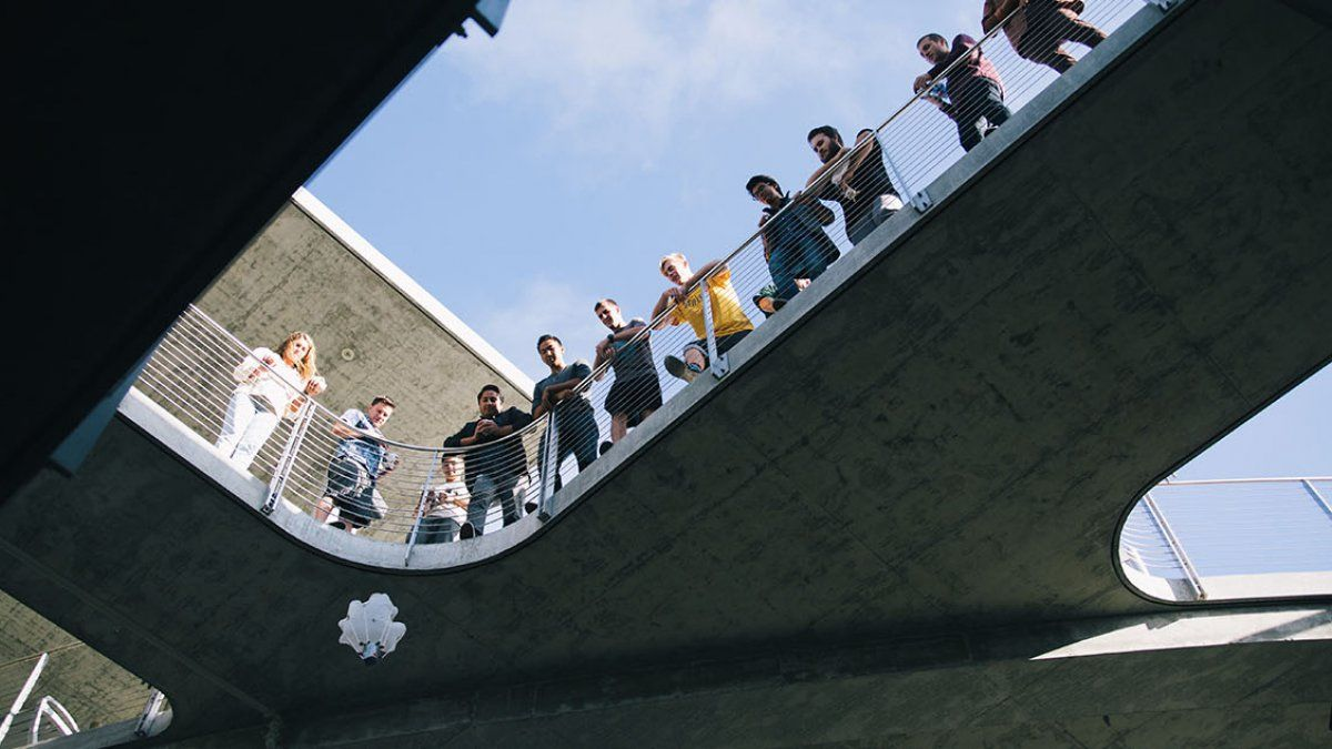 Society of Physics Students participate in an egg drop competition.