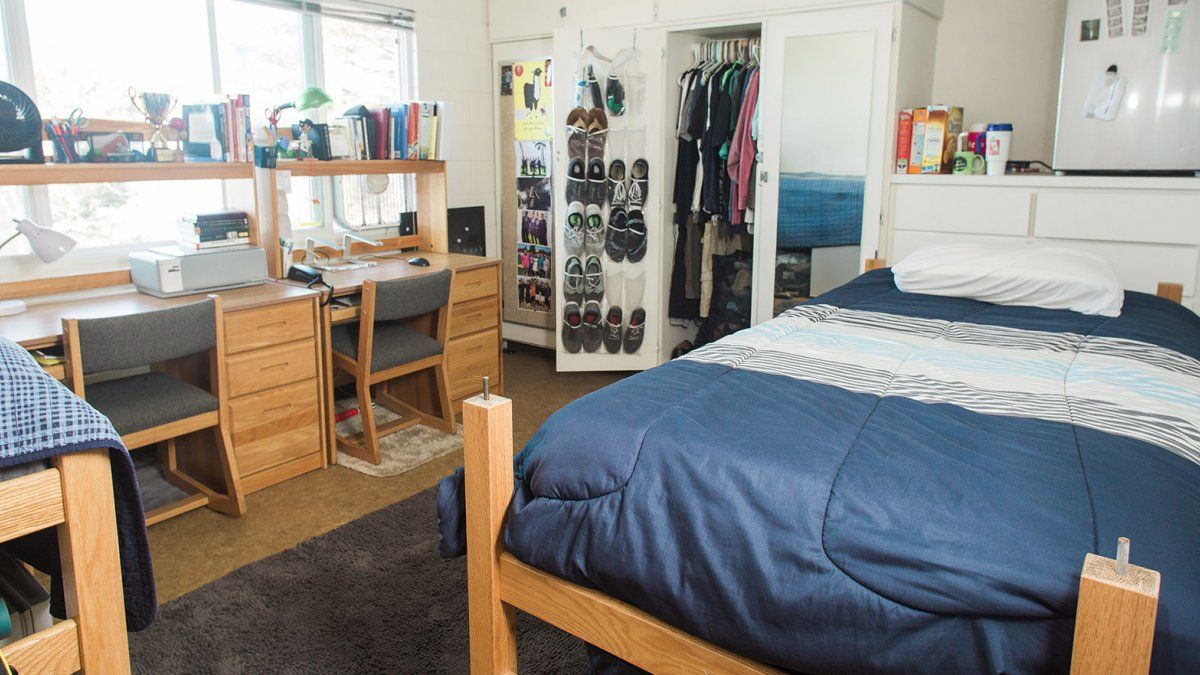 A well-organized dorm room in Goodwin Hall.