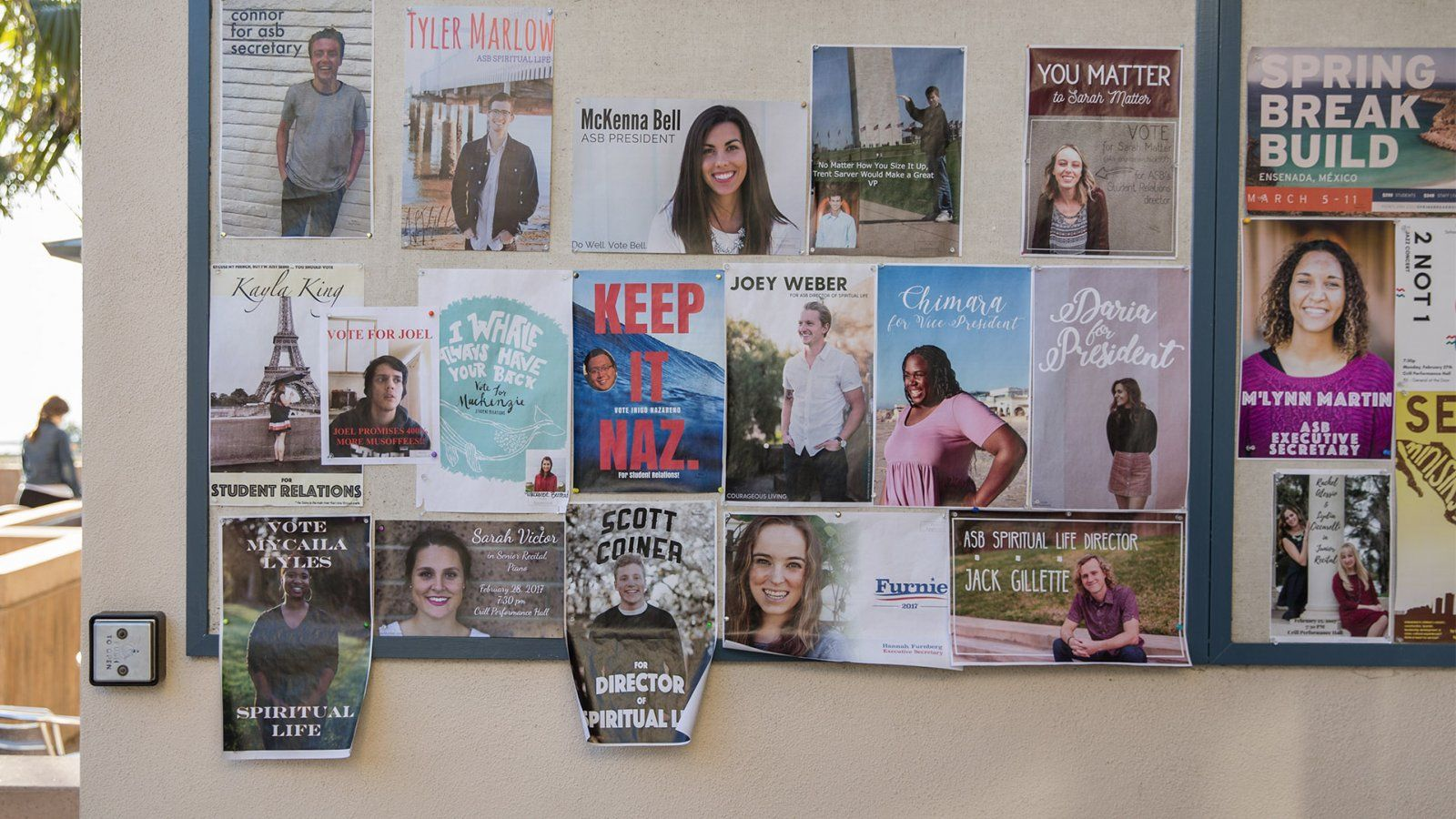 Posters of Students Running for ASB