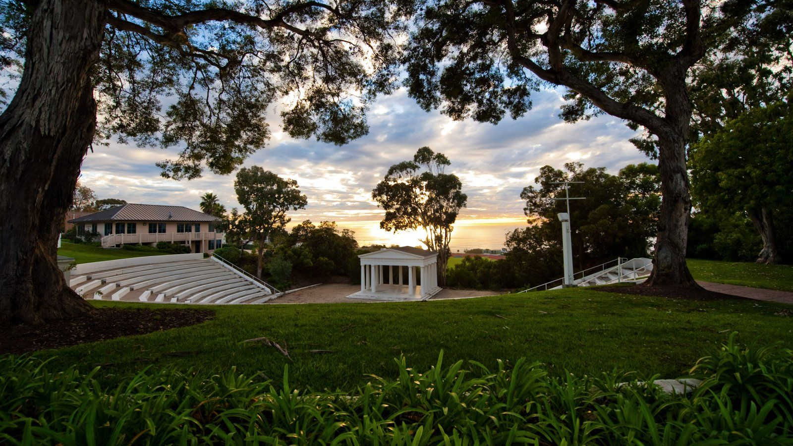 PLNU's iconic Greek Amphitheatre at sunset.
