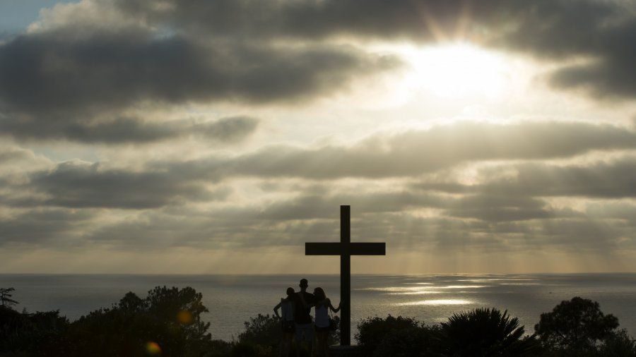 The PLNU cross at sunset.