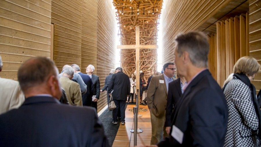 A large group tours the new Prescott Prayer Chapel