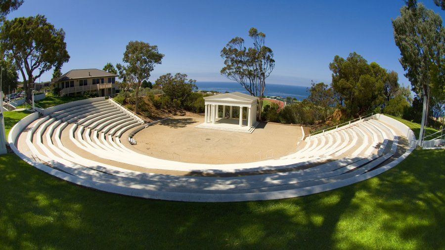 The Greek Amphitheatre with the ocean in the background.