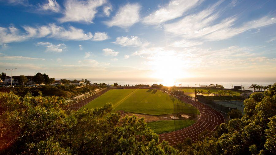 The PLNU soccer field at sunset.