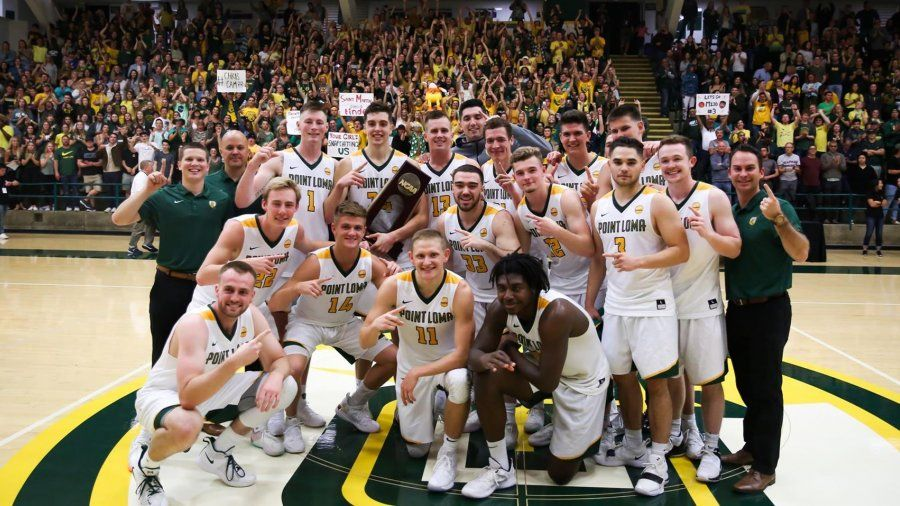 PLNU Men's Basketball team after winning against SMU to enter the Elite 8