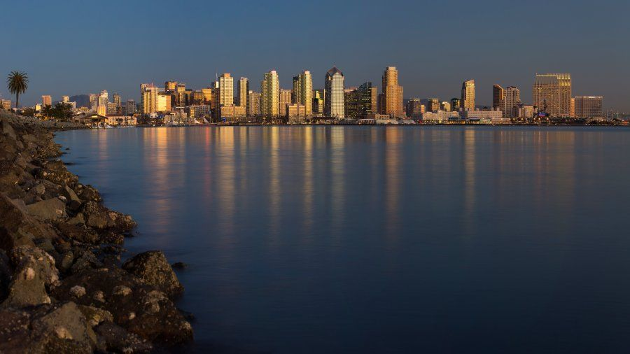A panoramic image of the San Diego skyline from Harbor Island.