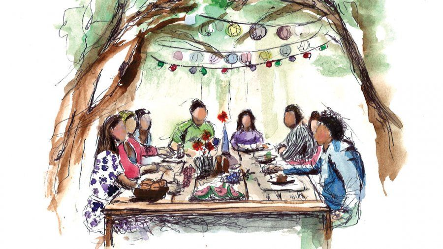 Illustration of People at Dinner Table