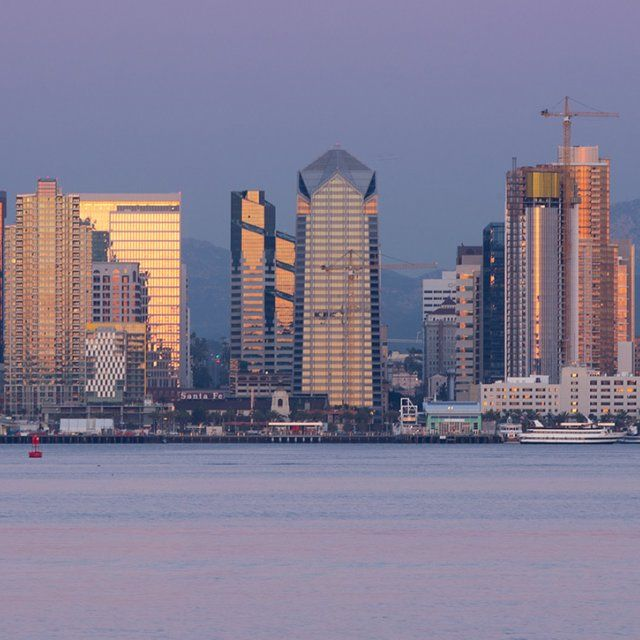 The San Diego skyline at twilight.