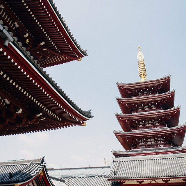 A photograph by a PLNU MBA student of red tiered Chinese towers during an international trip to Asia