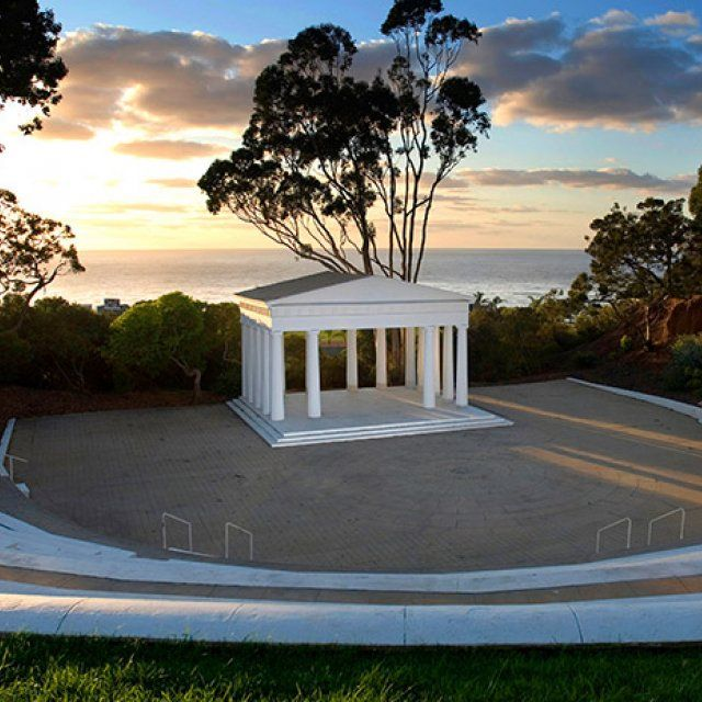 The oldest greek amphitheater in the western hemisphere during sunset at PLNU in San Diego.