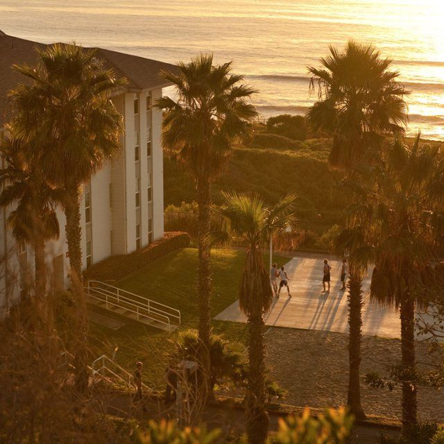 Young Hall, one of PLNU's residential halls, at sunset.