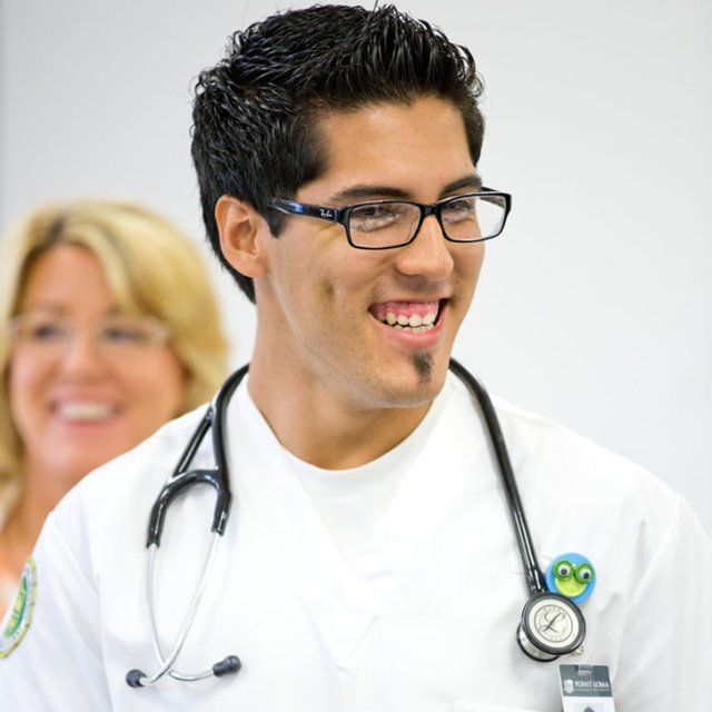 PLNU Nursing Student Smiling with Stethoscope Around His Neck