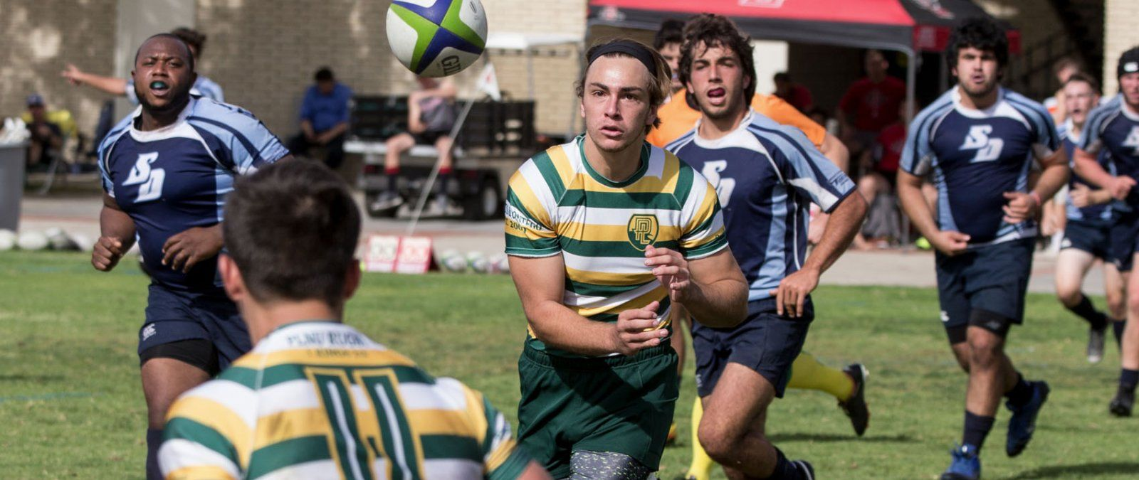 Point Loma Nazarene University rugby team competes against the University of San Diego in a local tournament
