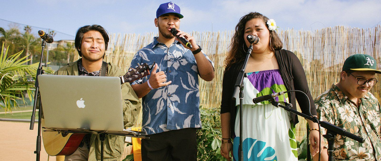 Members of the Hui O'Hawaii club perform native Hawaiian songs.