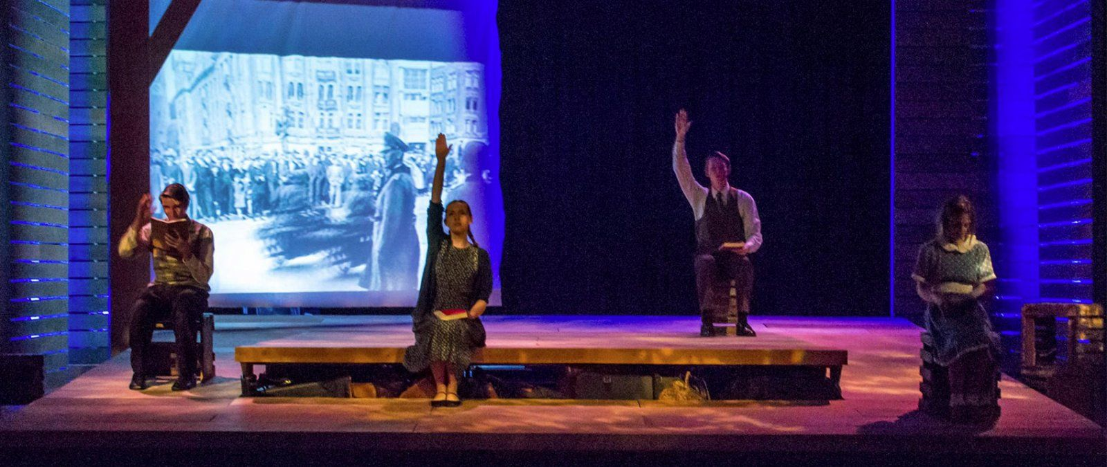 "Students performing in ""And Then They Came For Me: Remembering the World of Anne Frank"""