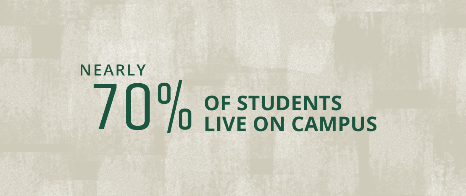 nearly 70% of students live on campus each year