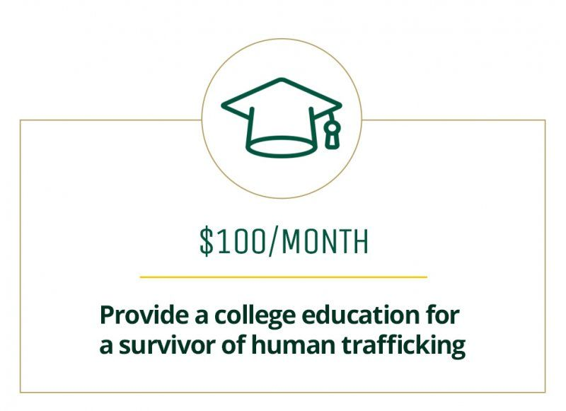 $100 a month provides a college education for a survivor of human trafficking