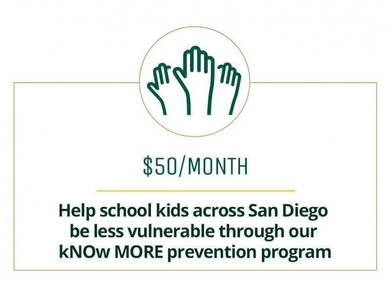 $50 a month helps kids across San Diego be less vulnerable through our kNOw MORE prevention program