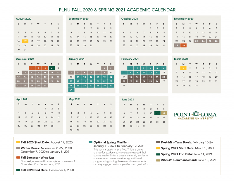 Fall 2020 and Spring 2021 Academic Calendar
