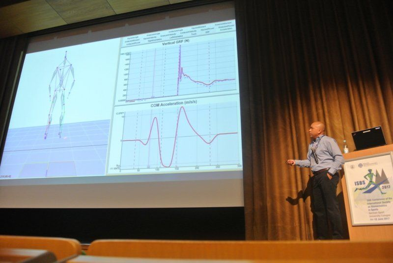Professor Arnel Aguinaldo presenting at the 35th International Society of Biomechanics in Sport Conference in Germany, June 2017.