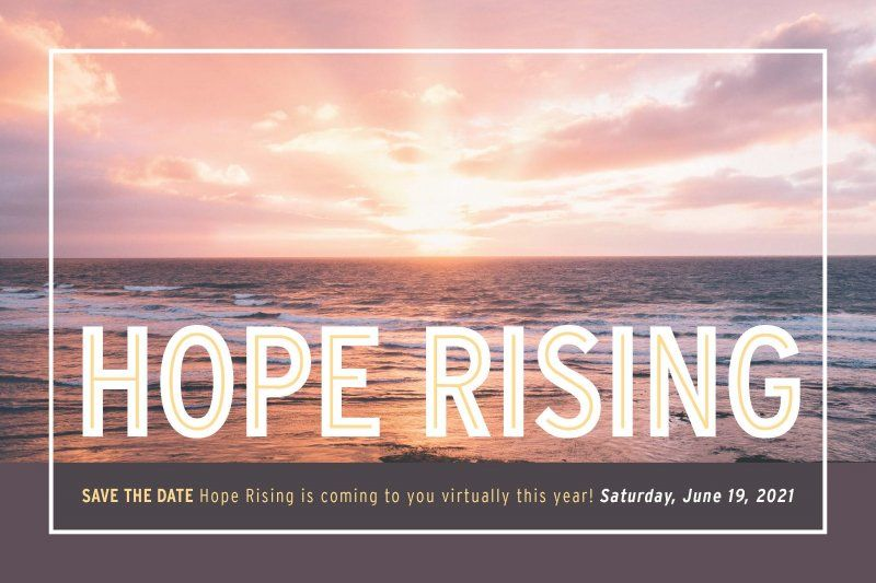 "Pink sunset with text saying, ""Hope Rising"""