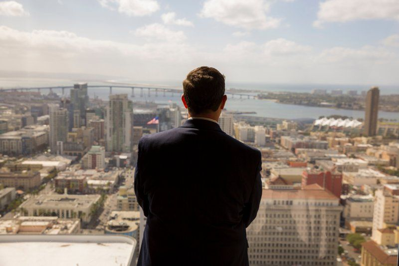 MBA Student Overlooking the City